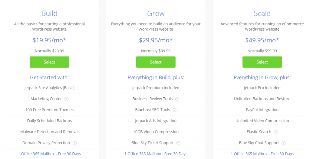 Bluehost Pricing 2019 - Web Hosting Plans 5